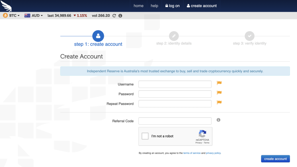 log in screen for independent reserve