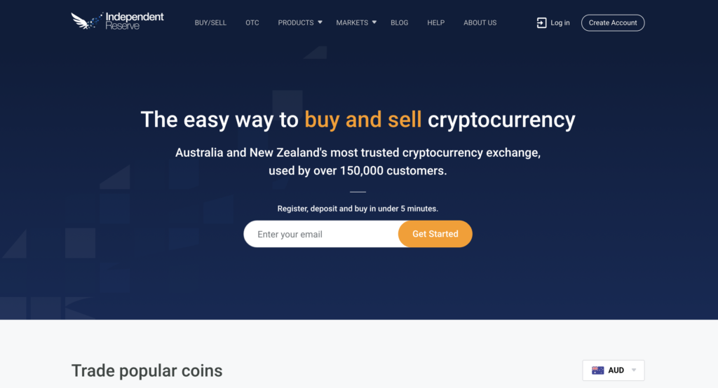 Independent REserve Cryptocurrency Exchange home page